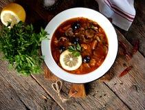 Η παραδοσιακή ρωσική σούπα solyanka έκανε από τα φρέσκων και ξηρών μανιτάρια λάχανων, με τις ελιές, το λεμόνι και τις κάπαρες Στοκ φωτογραφίες με δικαίωμα ελεύθερης χρήσης