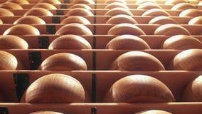 Η παρμεζάνα κυλά τις μορφές τυριών που καρυκεύουν σε ένα εργοστάσιο Reggiano παρμεζάνας απόθεμα βίντεο