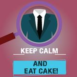 Η παρουσίαση σημαδιών κειμένων κρατά ήρεμος και τρώει το κέικ Η εννοιολογική φωτογραφία χαλαρώνει και απολαμβάνει μια γλυκιά ενίσ απεικόνιση αποθεμάτων