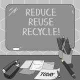 Η παρουσίαση σημαδιών κειμένων μειώνει την επαναχρησιμοποίηση ανακύκλωσης Εννοιολογική φωτογραφία που περιορίζει στο ποσό απορριμ ελεύθερη απεικόνιση δικαιώματος