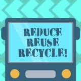 Η παρουσίαση σημαδιών κειμένων μειώνει την επαναχρησιμοποίηση ανακύκλωσης Εννοιολογική φωτογραφία που περιορίζει στο ποσό απορριμ διανυσματική απεικόνιση