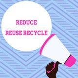 Η παρουσίαση σημαδιών κειμένων μειώνει την επαναχρησιμοποίηση ανακύκλωσης Εννοιολογική εκμετάλλευση χεριών συμπεριφοράς των καταν διανυσματική απεικόνιση