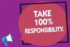 Η παρουσίαση σημαδιών κειμένων παίρνει την ευθύνη 100 Η εννοιολογική φωτογραφία είναι αρμόδια για τον κατάλογο αντικειμένων πραγμ Στοκ φωτογραφία με δικαίωμα ελεύθερης χρήσης