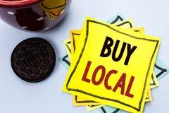 Η παρουσίαση σημειώσεων γραψίματος αγοράζει τοπικό Η αγορά αγοράς επίδειξης επιχειρησιακών φωτογραφιών ψωνίζει τοπικά λιανοπωλητέ στοκ εικόνα με δικαίωμα ελεύθερης χρήσης