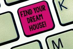 Η παρουσίαση σημειώσεων γραψίματος βρίσκει το σπίτι ονείρου σας Έρευνα επίδειξης επιχειρησιακών φωτογραφιών για το τέλειο εγχώριο στοκ εικόνα με δικαίωμα ελεύθερης χρήσης
