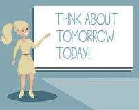Η παρουσίαση σημειώσεων γραψίματος σκέφτεται για το αύριο σήμερα Η επίδειξη επιχειρησιακών φωτογραφιών προετοιμάζει το μέλλον σας διανυσματική απεικόνιση