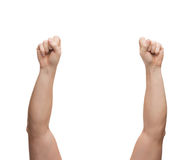 Η παρουσίαση χεριών ατόμων παραδίδει την πυγμή Στοκ Εικόνα