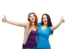 Η παρουσίαση δύο κοριτσιών χαμόγελου φυλλομετρεί επάνω Στοκ φωτογραφία με δικαίωμα ελεύθερης χρήσης