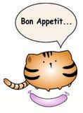 Η παχιά γάτα λέει ` Bon appetit ` στοκ εικόνα