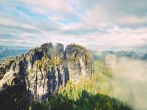 Η παχιά ομίχλη ταλαντεύεται μεταξύ των βράχων και της λουρίδας πέρα από τα υψηλά δέντρα στην κομψή δασική χαραυγή νεράιδων στους  Στοκ φωτογραφίες με δικαίωμα ελεύθερης χρήσης