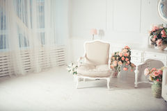 η παλαιά πολυθρόνα χάρασε την εσωτερική πολυτέλεια Στοκ Εικόνες