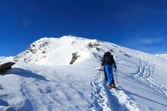 Η πεζοπορία ομάδας ανθρώπων στα πλέγματα σχήματος ρακέτας και το πανόραμα χιονιού βουνών με την κορυφή διασχίζουν στις Άλπεις Stu Στοκ φωτογραφία με δικαίωμα ελεύθερης χρήσης