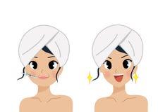 Η περίθαλψη και η επεξεργασία προσώπου συγκρίνουν botox τη γυναίκα διανυσματική απεικόνιση
