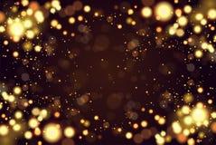Η περίληψη ο κυκλικός χρυσός χρυσός πολυτέλειας ακτινοβολεί bokeh υπόβαθρο φω'των Μαγική ανασκόπηση 10 eps διακοπές Στοκ Φωτογραφία