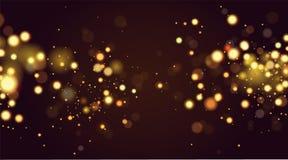 Η περίληψη το κυκλικό χρυσό σπινθήρισμα bokeh ακτινοβολεί υπόβαθρο φω'των Χριστούγεννα ανασκόπησησ Κομψός, λαμπρός ελεύθερη απεικόνιση δικαιώματος