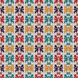 Η περίληψη χρωμάτισε τα αντικείμενα σε ένα γεωμετρικό υπόβαθρο στο αναδρομικό σχέδιο ταπετσαριών ύφους άνευ ραφής διανυσματικό Στοκ Φωτογραφίες