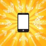 η περιεκτικότητα πηγαίνει κινητό σύγχρονο τηλέφωνο μέσων διανυσματική απεικόνιση