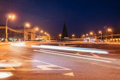 Η περιοχή της πόλης Homel τη νύχτα παραγμένος χρυσός γεια δρόμος εικόνας RES πόλεων ψηφιακά έκδοση Στοκ Εικόνες