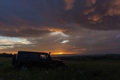 Η περιοχή του Λένινγκραντ, της Ρωσίας, στις 31 Ιουλίου 2016, τζιπ Wrangler σε ένα δάσος πεύκων στον καρελιανό ισθμό, το τζιπ Wran Στοκ Εικόνες