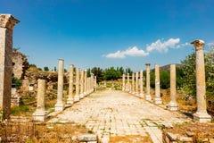 Η περιοχή Tetrastoon στην αρχαία πόλη Aphrodisias στην Τουρκία Στοκ εικόνες με δικαίωμα ελεύθερης χρήσης