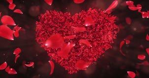 Η περιστροφή περιστροφών κόκκινη αυξήθηκε πέταλα λουλουδιών στον καλό βρόχο υποβάθρου μορφής καρδιών 4k