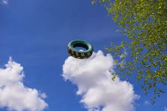 Η πετώντας ρόδα αυτοκινήτων Στοκ φωτογραφία με δικαίωμα ελεύθερης χρήσης