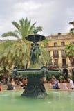 Η πηγή σε Placa Reial, Βαρκελώνη Στοκ Φωτογραφίες