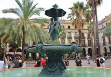 Η πηγή σε Placa Reial, Βαρκελώνη Στοκ Φωτογραφία