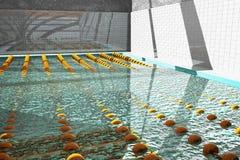 Η πισίνα διαίρεσε στις παρόδους στοκ φωτογραφία