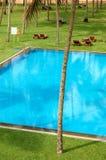 Η πισίνα και ο πράσινος χορτοτάπητας στο ξενοδοχείο πολυτελείας Στοκ Εικόνες