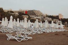 Η πισίνα πολυτέλειας ακρών με την άσπρη μόδα deckchairs στην παραλία στοκ εικόνες