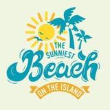Η πιό ηλιόλουστη παραλία στο γράφοντας γράμμα Τ σημαδιών αφισών ετικετών νησιών Στοκ εικόνες με δικαίωμα ελεύθερης χρήσης
