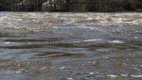 Η πλημμύρα του ποταμού μετά από το χειμώνα απόθεμα βίντεο