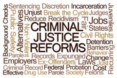 Η ποινική δικαιοσύνη μεταρρυθμίζει το σύννεφο του Word Στοκ εικόνες με δικαίωμα ελεύθερης χρήσης