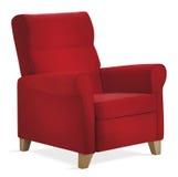 η πολυθρόνα απομόνωσε το κόκκινο Στοκ Φωτογραφία