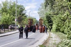 Η πομπή στο Sviatohirsk Lavra στη μνήμη εκείνοι σκότωσε στο Δεύτερο Παγκόσμιο Πόλεμο στοκ εικόνες