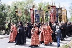 Η πομπή στο Sviatohirsk Lavra στη μνήμη εκείνοι σκότωσε στο Δεύτερο Παγκόσμιο Πόλεμο στοκ φωτογραφία με δικαίωμα ελεύθερης χρήσης