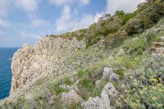 Η πορεία των μικρών φρουρίων σε Anacapri στο νησί Capri, Ιταλία στοκ φωτογραφία με δικαίωμα ελεύθερης χρήσης