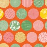 Η πορτοκαλιά άνευ ραφής περίληψη κύκλων Doodle επαναλαμβάνει το σχέδιο απεικόνιση αποθεμάτων
