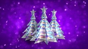 Η πορφύρα βρόχων χριστουγεννιάτικων δέντρων διακοσμήσεων Χριστουγέννων ακτινοβολεί απόθεμα βίντεο