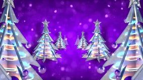 Η πορφύρα βρόχων χριστουγεννιάτικων δέντρων διακοσμήσεων Χριστουγέννων ακτινοβολεί v4 απόθεμα βίντεο
