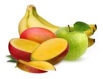 Η πράσινα Apple, μπανάνες και μάγκο που απομονώνονται στο άσπρο υπόβαθρο Στοκ εικόνες με δικαίωμα ελεύθερης χρήσης