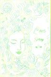 Η πράσινη κίτρινη περίληψη χρώματος κρητιδογραφιών, δάσος, κορίτσι fac, υπόβαθρο φεύγει Διακοσμητική κάρτα με τη θέση για το κείμ Απεικόνιση αποθεμάτων