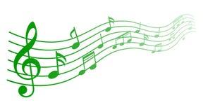 Η πράσινη μουσική σημειώνει το υπόβαθρο, μουσικές νότες - διάνυσμα απεικόνιση αποθεμάτων