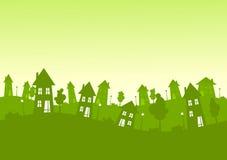 Η πράσινη πόλη σκιαγραφιών στεγάζει τον ορίζοντα Στοκ εικόνα με δικαίωμα ελεύθερης χρήσης
