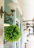 Η πράσινη πλαστική ανθοδέσμη ανθίζει την κρεμώντας διακόσμηση Στοκ Φωτογραφία