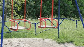 Η πράσινη φύση χλόης έλξης παιδικής ηλικίας παιδικών χαρών ταλάντευσης αφήνει το καλοκαίρι μίσχων εγκαταστάσεων ήλιων υποβάθρου απόθεμα βίντεο