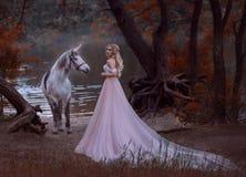 Η πριγκήπισσα συνάντησε έναν μονόκερο στο δάσος που το ξανθό κορίτσι με μια ευγενή σύνθεση, είναι ντυμένο σε ένα μακρύ εκλεκτής π Στοκ εικόνα με δικαίωμα ελεύθερης χρήσης