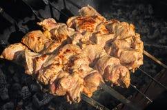 Η προετοιμασία του juicy kebab στη φύση από το σώμα με το φυσικό woodwood Στοκ εικόνα με δικαίωμα ελεύθερης χρήσης