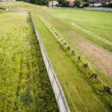 Η προηγούμενη παραμεθώρια περιοχή μεταξύ της Δυτικής Γερμανίας και της ΟΔΓ, υπαίθρια έκθεση σε Hötensleben, εναέρια φωτογραφία π Στοκ φωτογραφία με δικαίωμα ελεύθερης χρήσης